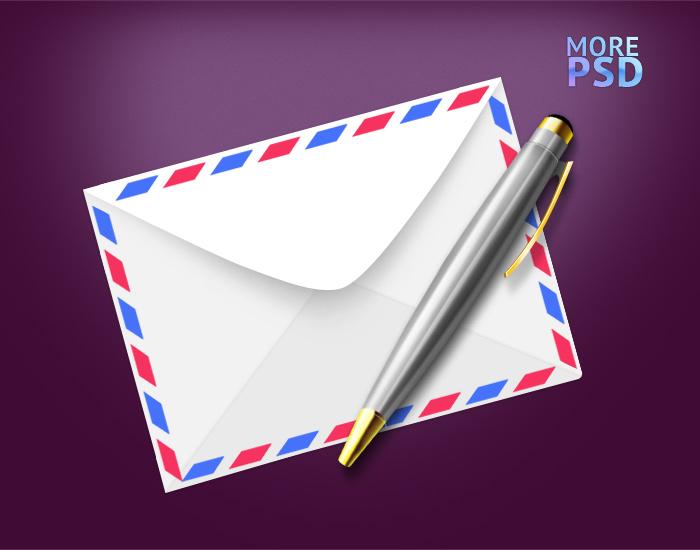 письмо, ручка psd исходник скачать шаблон psd письма