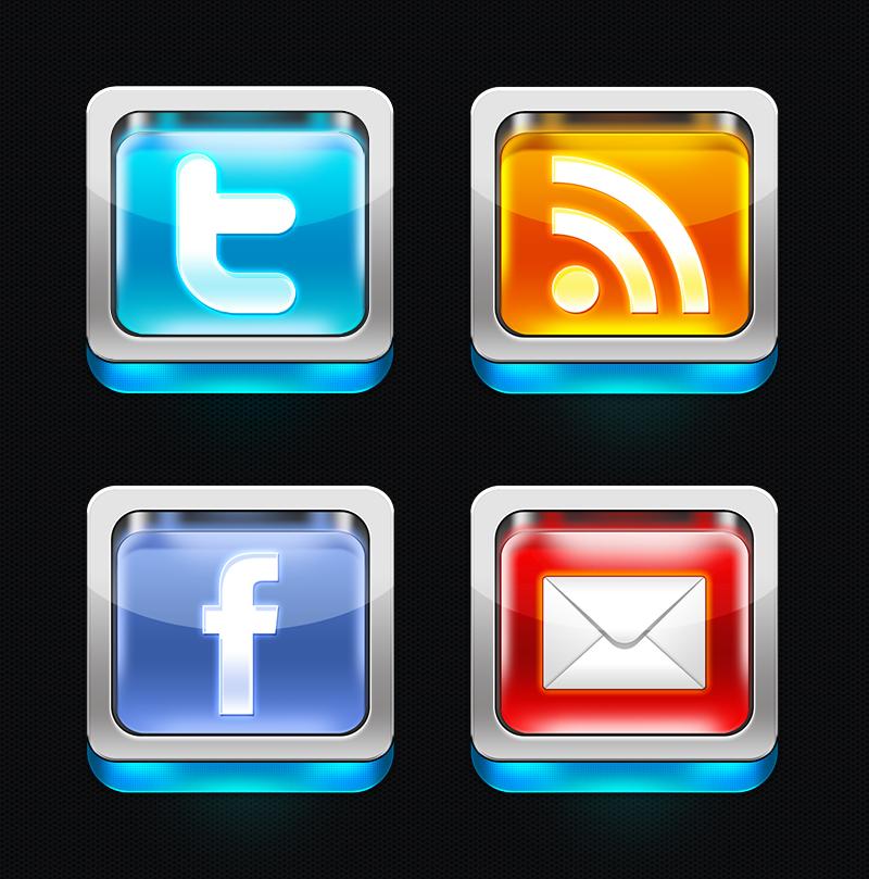 скачать иконки, социальные сети, rss подписка, стекло, блеск