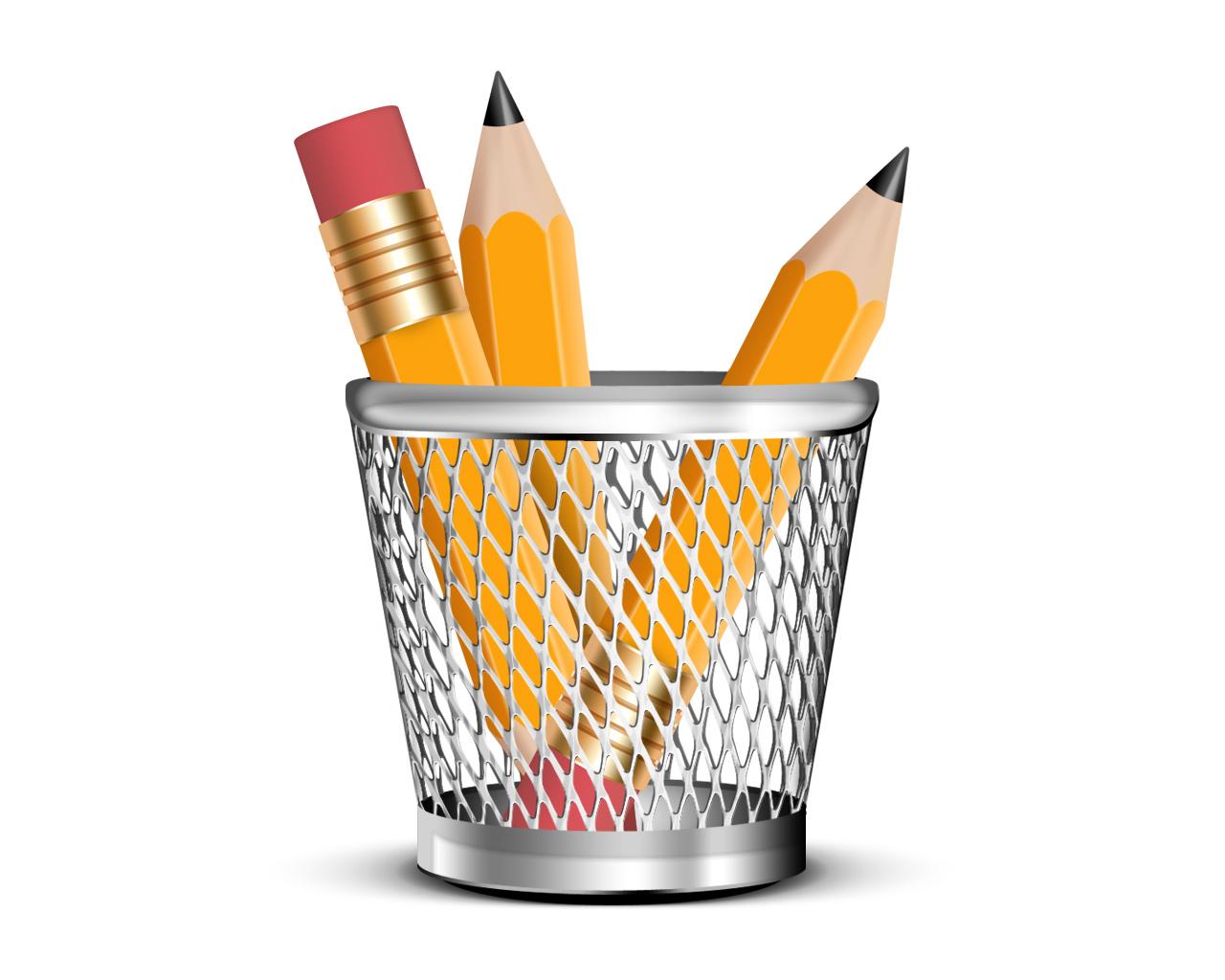 icon, pencils, yellow, psd, карандаши, желтые, корзинка