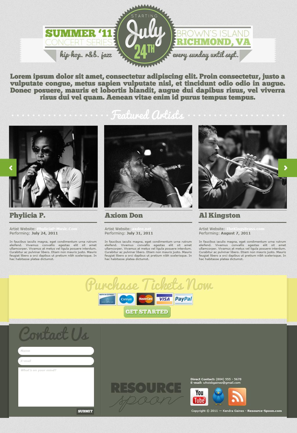 шаблон сайта ивенты, бесплатно, free psd site, green, silver