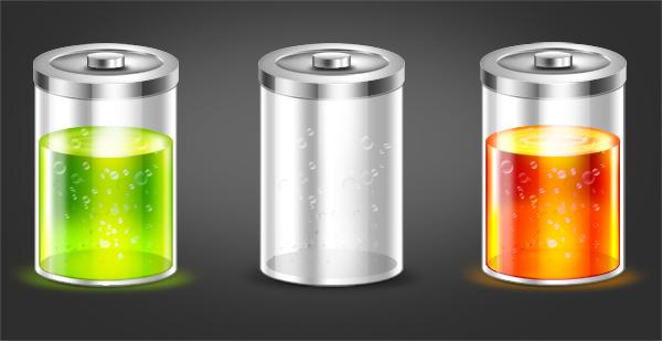 батарейка, psd, зеленая, глянцевая, скачать, красная, блики, psd, png, бесплатно