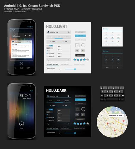 android 4 psd скачать шаблон download бесплатно