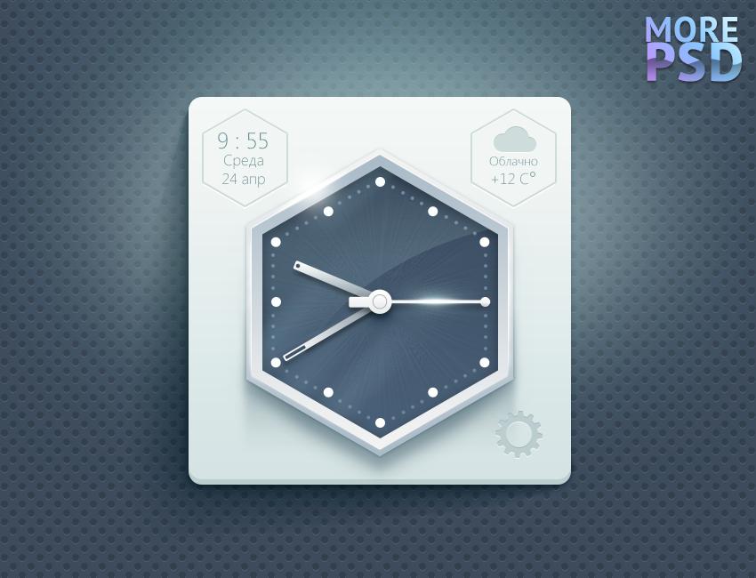иконка часов, ios, виджет, psd шаблон, png, бесплатно