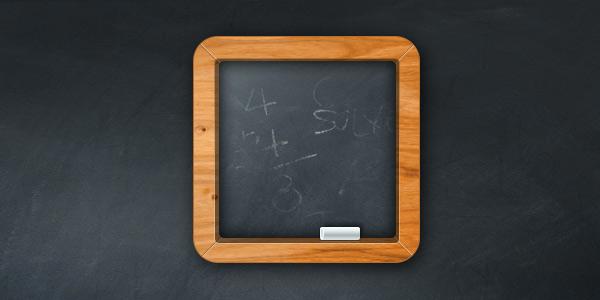 ios иконка доска с мелом, текстура дерева, доски