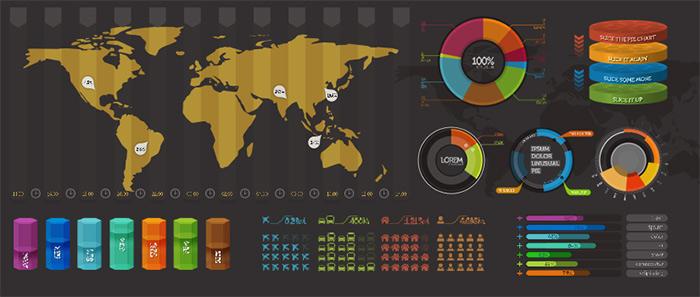 инфографика исходник psd, чарты, таблицы, карта мира, круговые диаграммы
