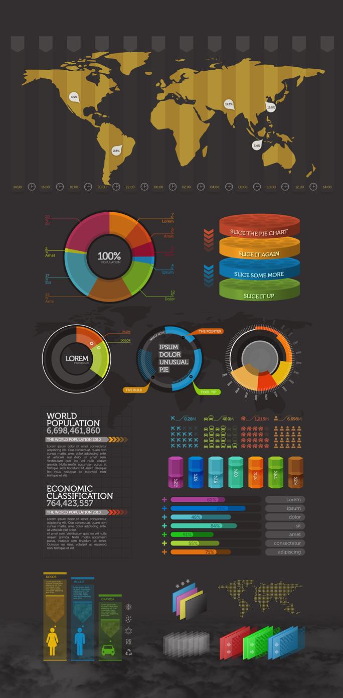 инфографика скачать красивый набор элементов