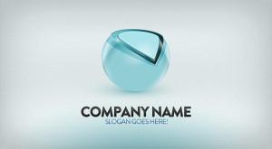 красивый голубой объемный логотип psd