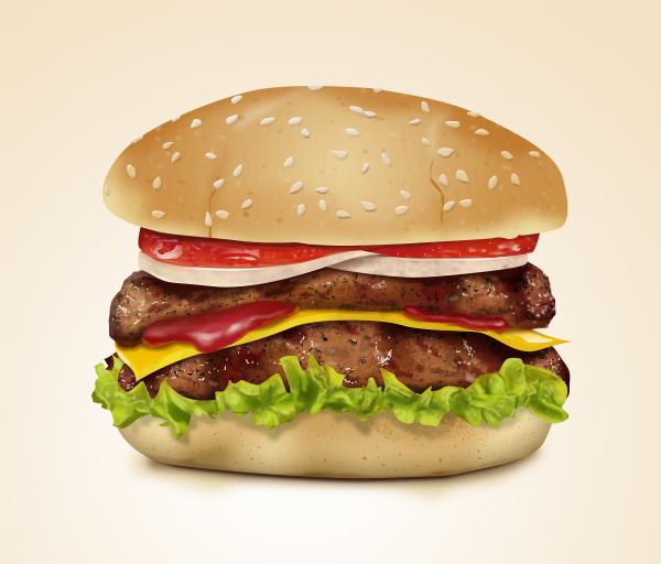 Реалистичная иконка гамбургера | More PSD: morepsd.ru/2013/10/realistic-hamburger-icon
