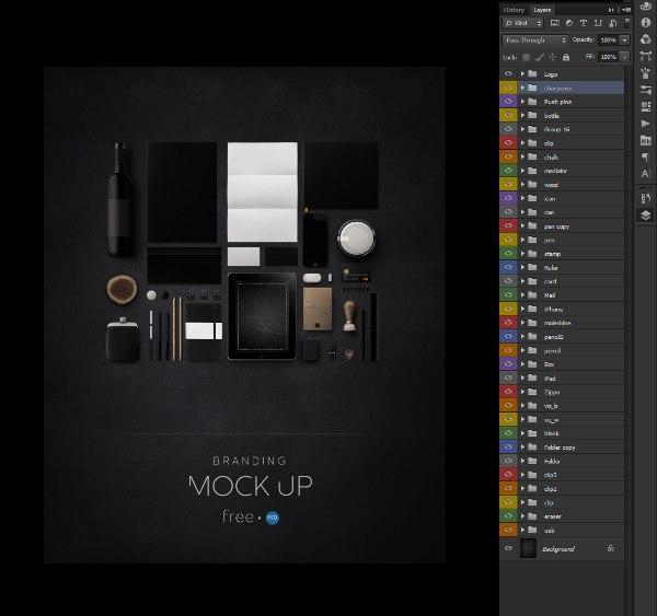 темный, psd template, шаблон, фирменный стиль