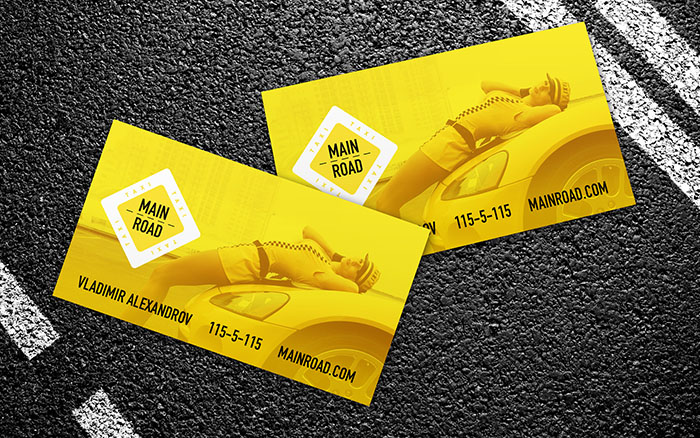 psd шаблон визитки для такси скачать