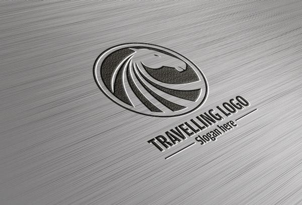 psd логотип металл вдавленный лого