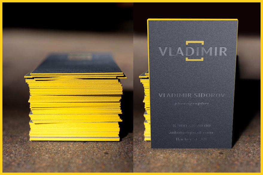 стильная серо желтая визитка фотографа бесплатно шаблон