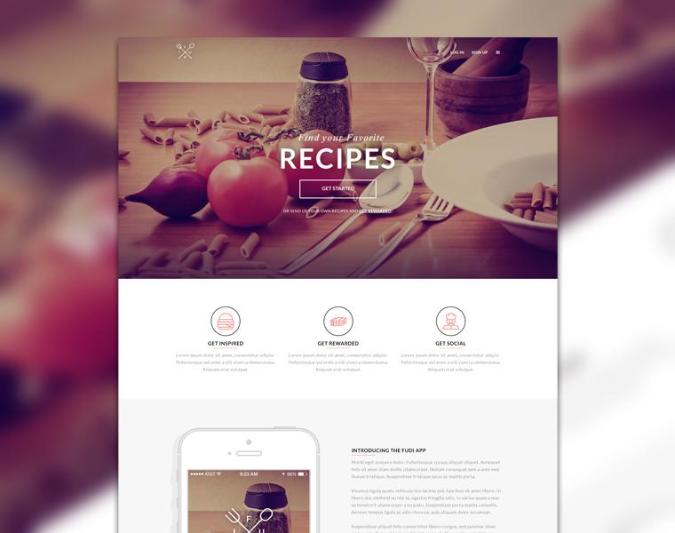 лендинг бесплатный шаблон сайта еда тема скачать psd free template food