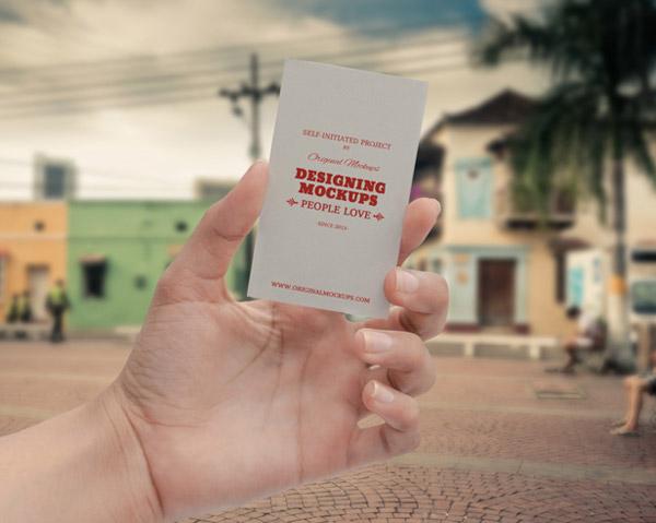 шаблон визитки в руке psd