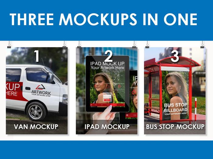 шаблон брендинга, скачать, рекламный щит на остановке, брендинг автомобиля, ipad