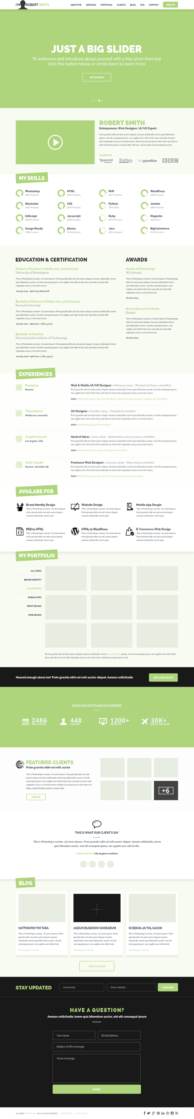 psd шаблон сайта скачать резюме free psd one page resume
