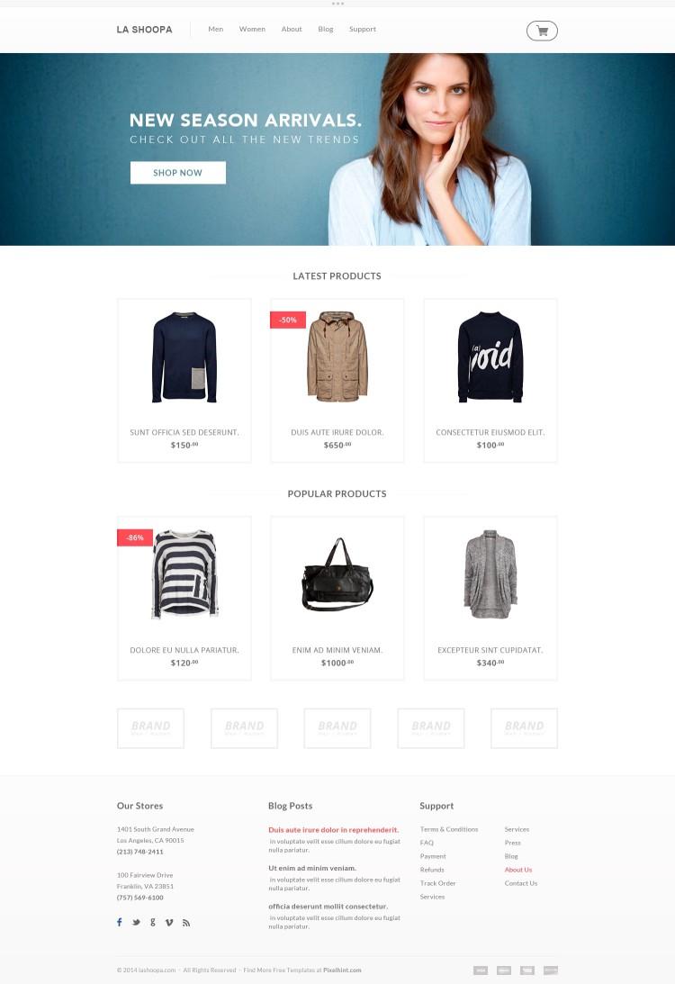 Psd шаблон интернет магазина скачать для цветов, одежды, очков, обуви
