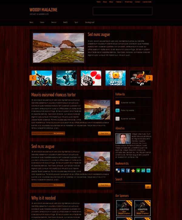 Красивая и простая wordpress тема сайта выполненная с текстурой дерева.