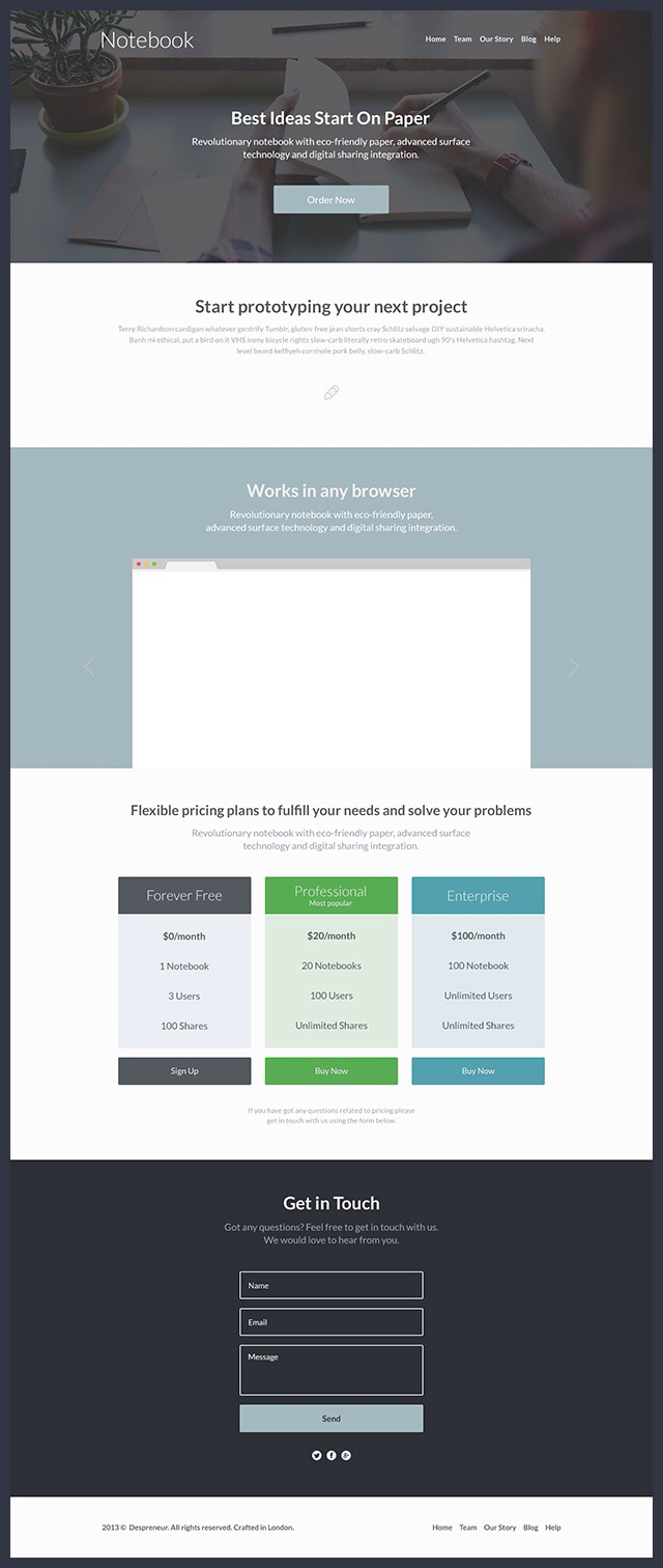one page website template free psd