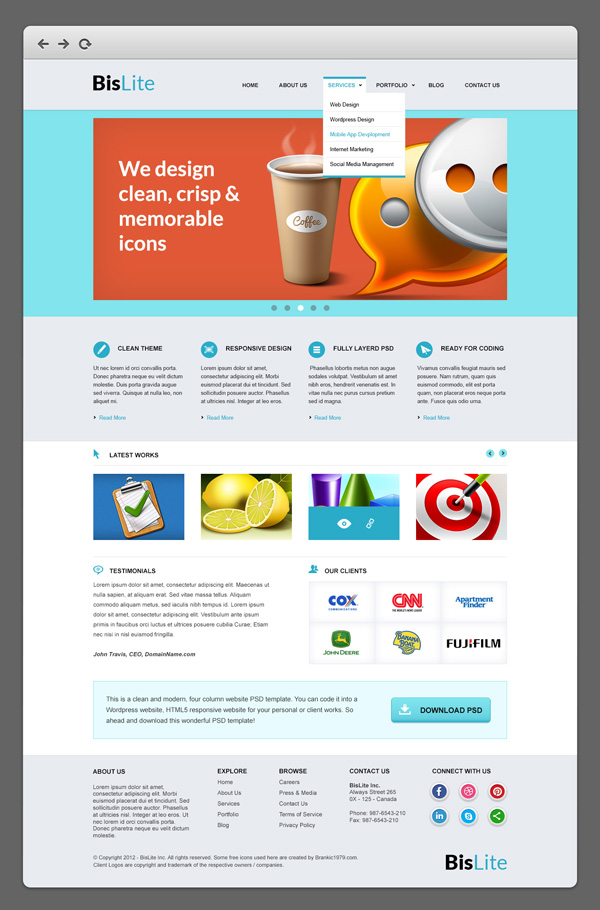 psd template corporate website free download