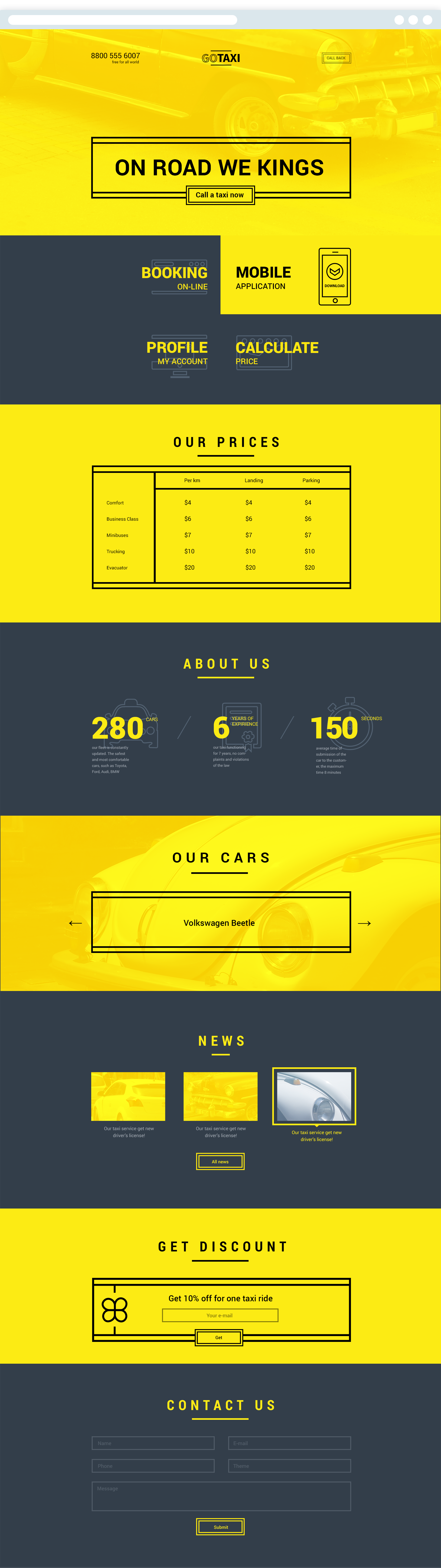 modern site psd template yellow, black, white website