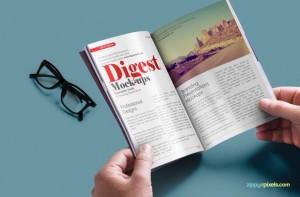 Мокап журнала в руках, очки, скачать бесплатно free magazine mockup