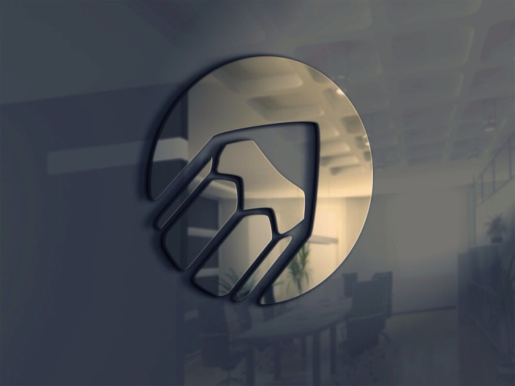 Мокап логотипа на стене, стекло, скачать