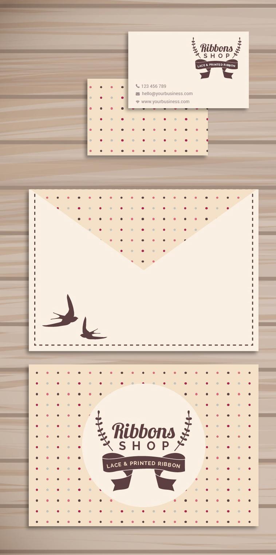 шаблон конверт, визитка, ретро, коричневая