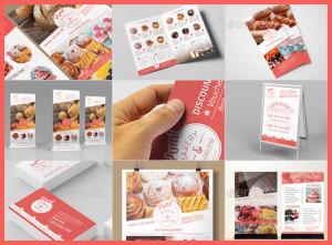 пекарня, кафе, брендинг, меню, визитки, буклет, таблички psd скачать на печать бесплатно