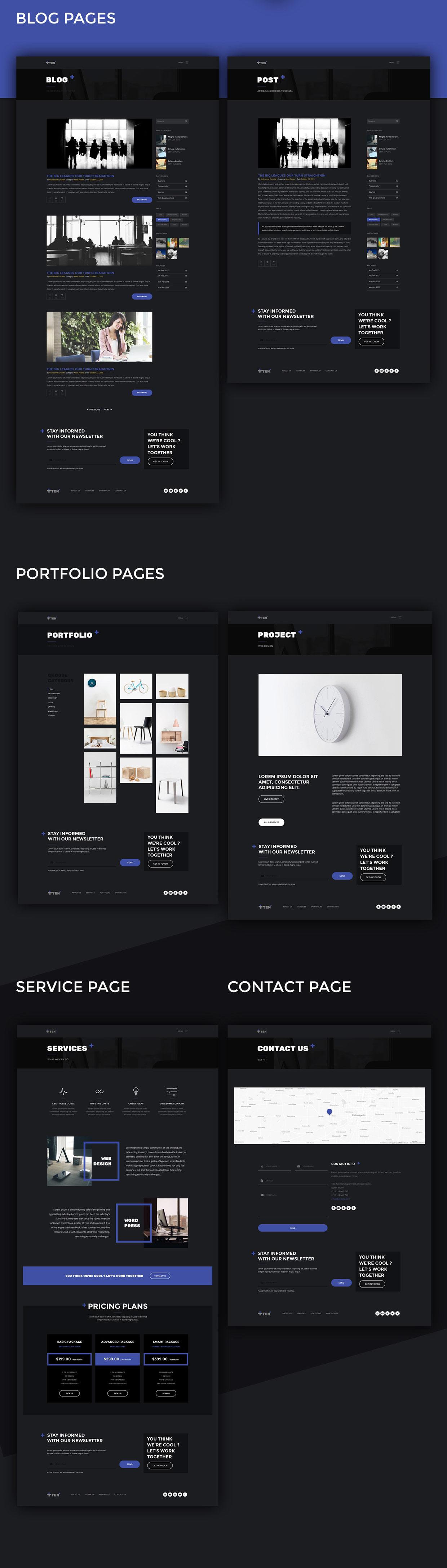 темный шаблон сайта студии, фотографу, портфолио psd + html