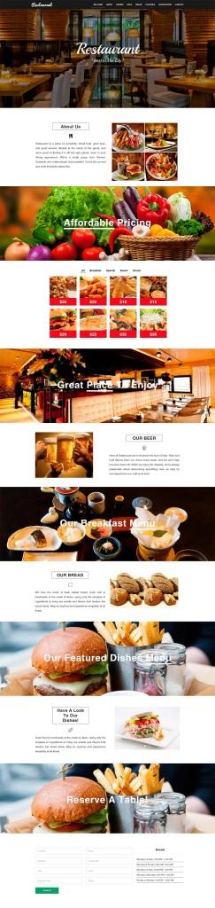 лэндинг для кафе, ресторана, шаблон, бесплатный, скачать, html, landing page