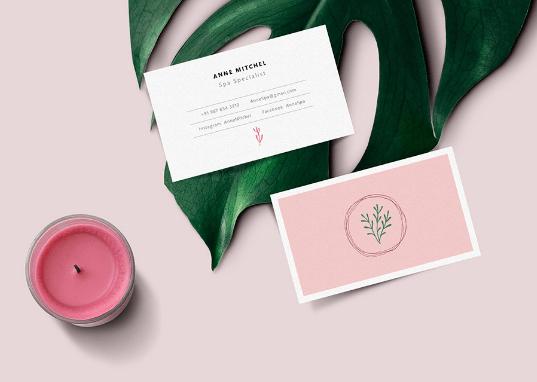 визитка мокап розовый растение