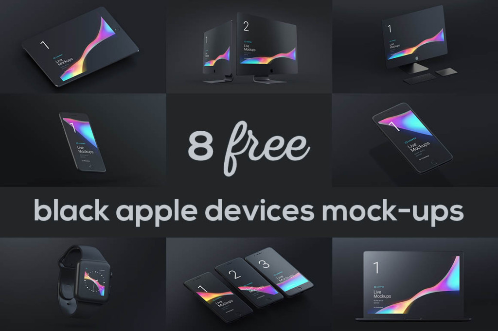 Black Apple mockups free мокап мак макбук эппл