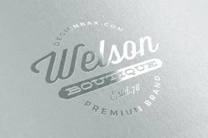 мокап логотипа металлизированный тиснение mock up logo metallic free