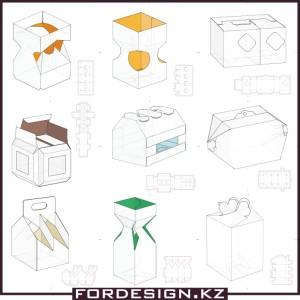 выкройки картонных упаковок вектор