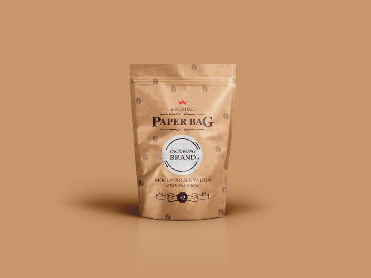 мокап упаковки кофе чая бумажная пакет psd mockup package free