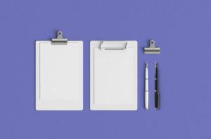 мокап зажим для бумаги ручка вид сверху