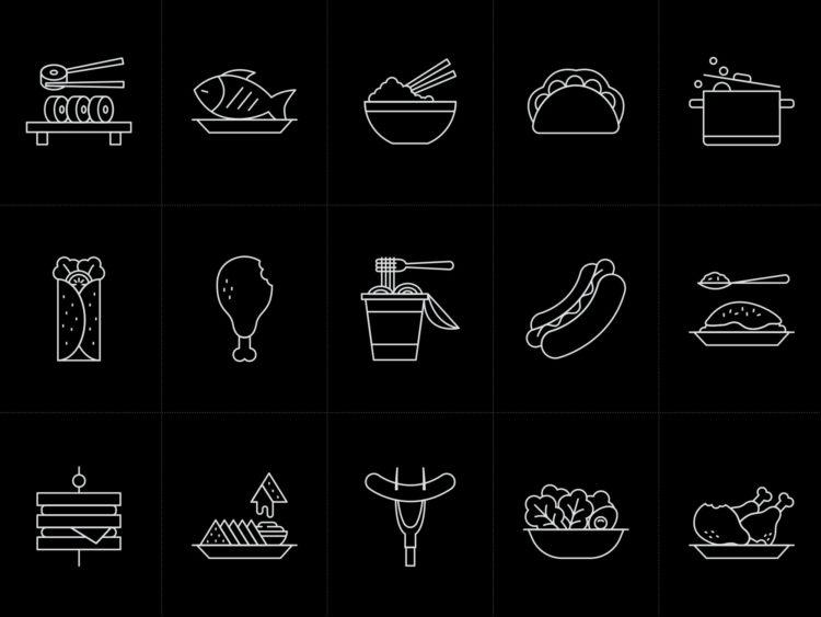 иконки для меню на тему еды, ресторан, кафе, бесплатные