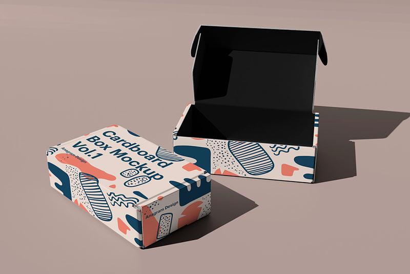 коробка мокап бесплатно пример дизайна упаковки mockup free обувь