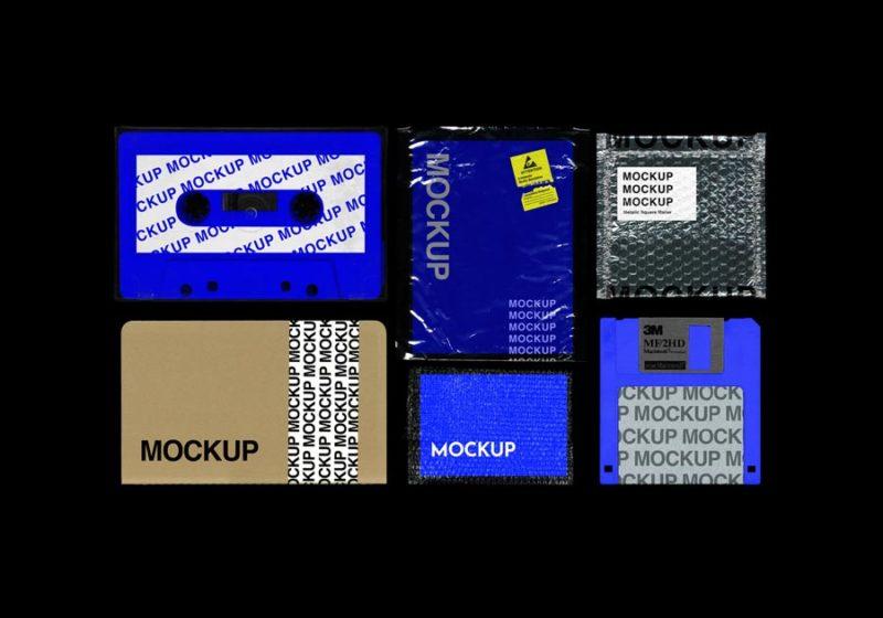 мокап скачать романтика 90х ретро: кассета, пакет, дискета, блокнот mockup