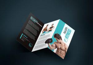 шаблон буклета, брошюра, лифлет в 3 сложения спорт фитнес качалка спортпит