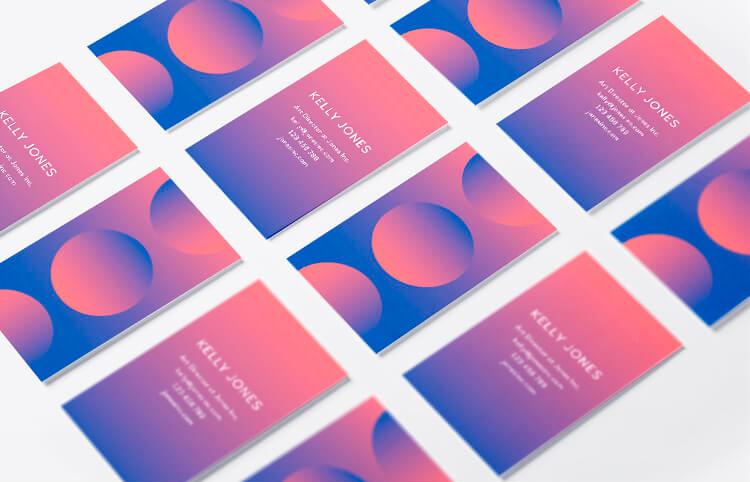 шаблон красивой визитки с градиентом для бизнеса скачать бесплатно
