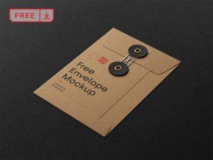 мокап конверта скачать кравфтовый с застежкой mockup