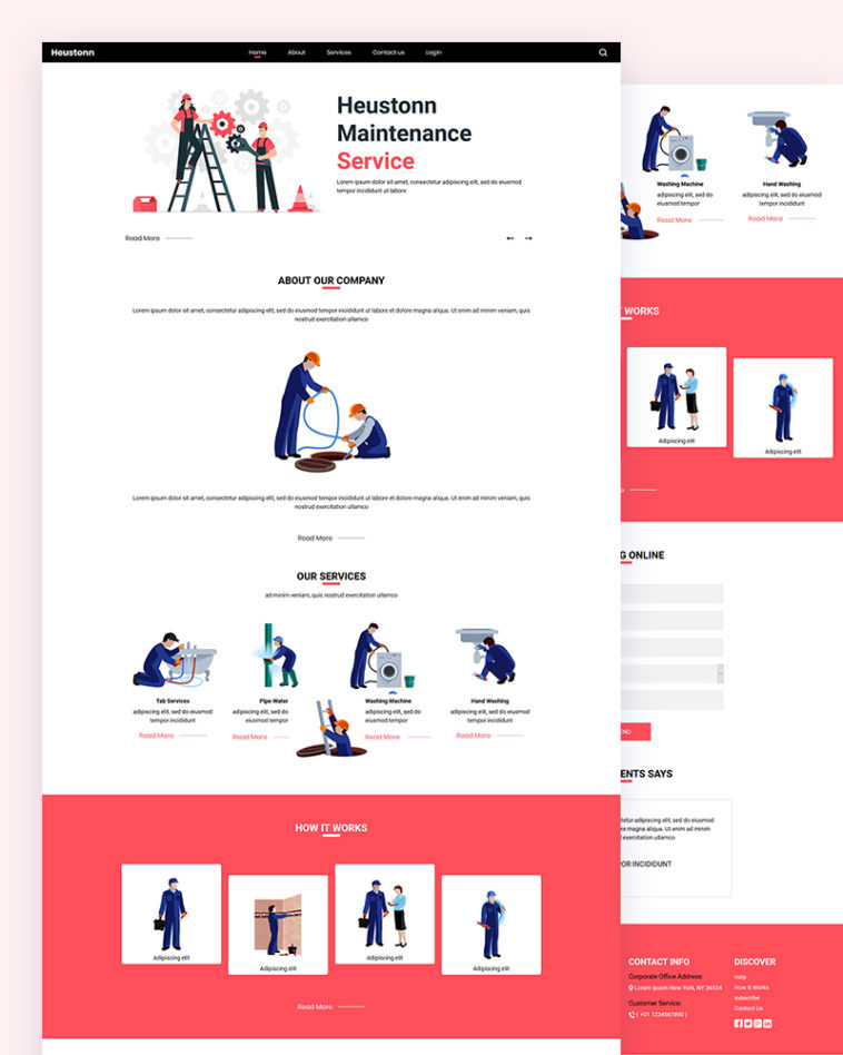 html шаблон сайта по ремонту техники, бытовой, template, css