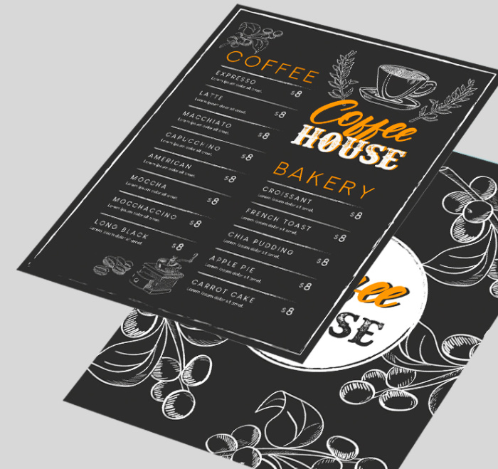 меню шаблон кофейня кофе чай напитки template бесплатно psd