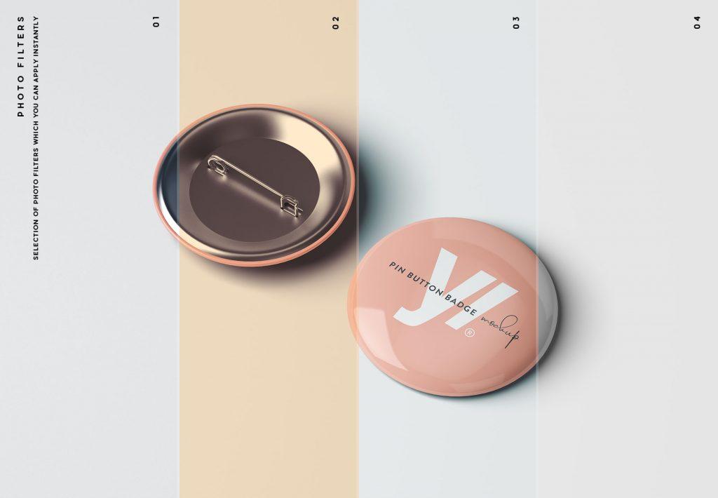 мокап значка бесплатно курглый металлический фирменный mockup pin