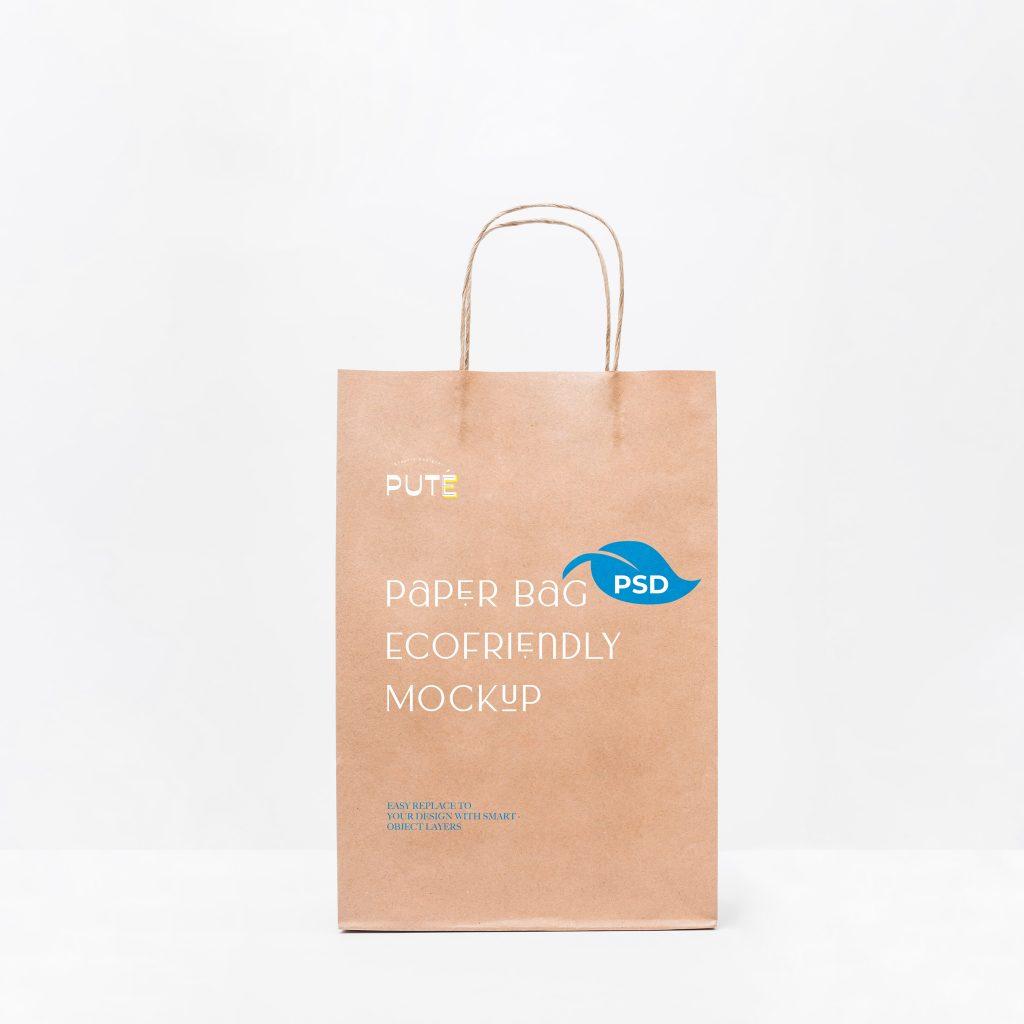 мокап пакет бумажный крафтовый psd бесплатно эко