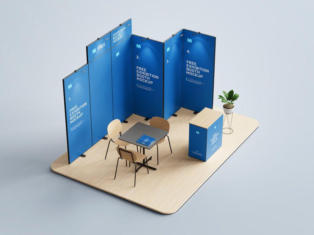 мокап стенда для выставки бесплатно скачать 3d пресс волл стойка стол mockup free