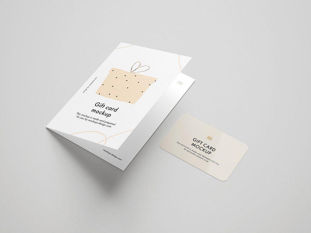 мокап открытки бесплатный скачать с сретификатом и подарочной картой пример, онлайн psd photoshop mockup 2